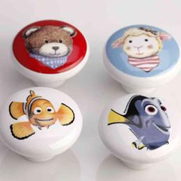 Wholesale Kids Furniture Pulls Handles - 38mm Ceramic Children Cartoon Cabinet Drawer Knob Kids Wardrobe Handle Furniture Closet Dresser Pulls for Kids Nursery Rooms