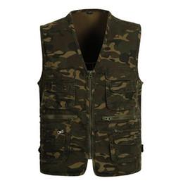 Wholesale Military Jacket Liner - 2017 New Men Denim Vest Casual Vintage Sleeveless Washed Vest Military waistcoat Man Cowboy Camouflage Jacket Plus Size L-4XL
