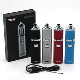 Wholesale E Cigarette Battery Voltage - Authentic Yocan Pandon QUAD Wax Pen Kits 1300mAh Battery Kits 2 QDC Voltage Adjustable E Cigarette Kits Evolve Coils Compitable 4 Colors