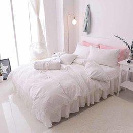 Wholesale Princess Wedding Duvet - Princess luxury100% cotton wedding bedding set bed skirt lace style bed set duvet cover set king queen full size 7pcs