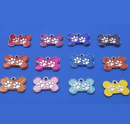Wholesale Cheapest Pet Id Tags - Colorful Bone Shape Pet Safety Tag ID With Cute Paw Hotsale Fit Pet Collar&Necklace Cheap Key Charms Wholesale 50PCS LOT
