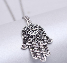 Wholesale Evil Eye Pendants Wholesale - Fashion Silver Tone Hollow Evil Eye Hand Pendant Chain Sweater Necklace Jewelry