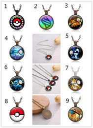 Wholesale Pikachu Jewelry - 9styles Poke ball Pendant Necklaces black bronze silver 3colors vintage Pikachu sweater chain poke go Jewelry Xmas gifts for adult and teena
