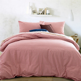 Wholesale Full Quality Bedding Set - Home textile 100%High Quality Cotton knitting Gingham 4 piece Consort Red bedding sets queen size king size duvet cover bed sheet pillowcas