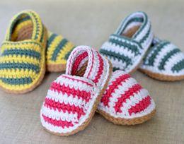 Wholesale Crochet Kids Shoe Patterns - 100% handmade CROCHET PATTERN Baby Espadrilles Cotton newborn Loafers stripe toddler shoes,spring kids walking floor shoes.9pairs 18pcs