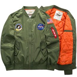 Wholesale Red Military Coat - Fall-Flight Pilot Jacket Coat Bomber Ma1 Men Bomber Jackets Nasa Air Force Embroidery Baseball Military Coats