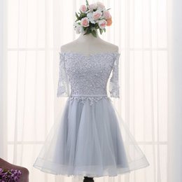 Wholesale Sexy Gril - 2016 New Fashion Gray Lace Flower A-line Short Sleeves Cocktail Dress Sweet Gril Party dresses Custom Plus Size Formal Dresses