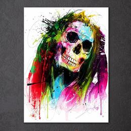 Wohnzimmer Malerei Farbe Rabatt 1 Stück Canavs Malerei HD Gedruckt Farbe  Schädel Abstrakte Wandbild Für Wohnzimmer
