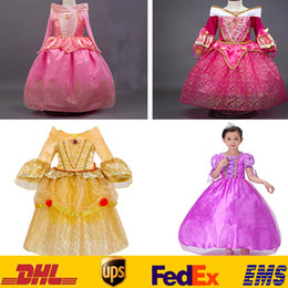 Wholesale Lolita Long - Children Princess Dresses Party Pageant Ball Gown Long Pleated Cosplay Dress Aurora Belle Sophia Aurora Gauze Lace Sleeping Beauty HH-D01