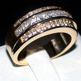 Wholesale Topaz Gemstone Men Rings - Luxury Princess-cut White Topaz Gemstone Rings Fashion 10KT Yellow Gold filled Wedding Band Jewelry for Men Women Size 8,9,10,11,12