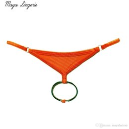Wholesale Lycra G Thongs - Gay underwear cock ring thong sexy Men panties men underwear jockstrap cock penis mini male thongs and g strings