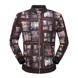 Wholesale Leopard Print Jacket Mens - Famous brand autumn winter jackets long sleeves stand collar the tiger Leopard printing jacket Fashionable comfortable mens jackets
