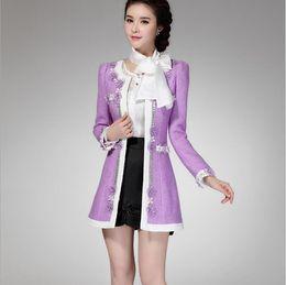 Wholesale New Korean Womens - Nice Winter Korean Womens New Fashion Flower Beaded Slim Long Wool Winter Coat Long Sleeve Patchwork Purple Outerwear Coats for Women