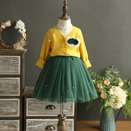 Wholesale Girls Sweater Skirt Sets - Boutique Autumn Girls Outfits New Sets Long Sleeve Flower Brooch Sweater Cardigan Tops + Lace Gauze Tutu Skirts 2piece Set Suits A7497