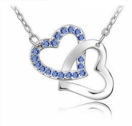 Wholesale Heart Knot Necklace - Wholesale Hot crystal jewelry heart to heart pendant crystal necklace - tie the knot (Min order $10 mix)