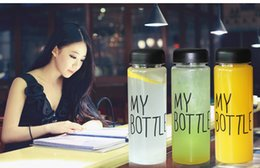 Wholesale Travel Juice Cup - Newest Fashion My Bottle 4 style package Health Plastic bottle 500ml Fruit Lemon Juice Water bottle Tour Outdoor Cup With Bag
