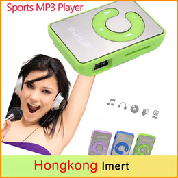 Wholesale Mini Clip Mp3 1gb - Mini Mirror Surface Clip MP3 Player With Micro TF SD Card Slot Portable sport mp3 Music players walkman
