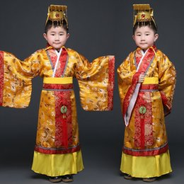 Wholesale Cheap Mens Robes - Cheap Chinese ancient Tang Hanfu Costumes set Boy mens little emperor dragon robes suits Qing Dynasty Prince Man traditional Han clothing