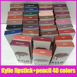 Wholesale make lipstick kit - Latest 40colors KYLIE lip golss JENNER LIP KIT kylie lip liner pencil Velvetine Liquid Matte Lipstick in Red Velvet Makeup make up