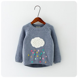 Wholesale Infant Wool Sweater - 2016 Autumn Winter New Winter Cartoon Baby Girls Sweater Cloud Raindrops Kids Cloed Wool Cotton Knitwear Infant Sweater Kids Clothing