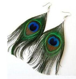Wholesale Earing Piercing - Peacock Feather Pierced Earrings National Style Real Animal Feather selling Fashion Earing Punk Feather Earrings Dangle