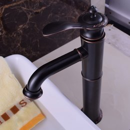 Wholesale Bathroom Faucet Plate - Single Handle DecK Mounted Black Basin Faucet Brass Bathroom Basin Sink Mixers with Hot and Cold Water Tall