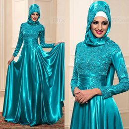Wholesale Long Teal Dresses Beading - Muslim Evening Dresses With Hijab Arab 2017 Kaftan Formal Lace Dubai With Long Sleeves High Neck Teal Blue Prom Gowns Long Custom Made