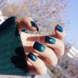 Wholesale Half Nails Tips - Fashion False Nails Real Photos 24 pcs Green & Black Gradient Patch Nails Art Hight Quality In Stock