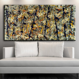 Wholesale Canvas Painting Numbers - Jackson Pollock Number 48 Canvas print art copy painting -wholesale home wall abstract art oil painting -free shipping
