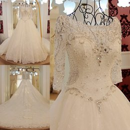 Wholesale Lace Pearl Meter - 2017 Wedding Dresses Long Sleeve Luxurious 3 Meters Long Trail 100% Real Image New Ball Gown Wedding Dress Sheer Neck Lace_Up Bridal Dress
