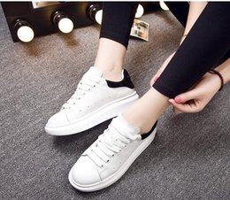 Wholesale Thick Sole Buckle - white shoe Female genuine leather thick soles 2016 new spring summer casual shoe lace-up plate shoes white sneakers