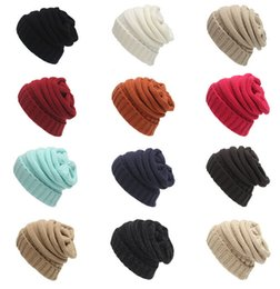 Wholesale Tall Girl Blue - New Fashion 12 Colors Knitted Women Beanie Girls Autumn Casual Cap Women's Warm Winter Hats Unisex Men Casual Hat