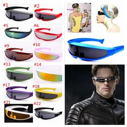 Wholesale Laser Glass Lens - men's sunglasses fashion X-men Individuality Laser Outer Space Robot Conjoined Mercury Lens Sun Glasses For Outdoor Sports 24 colors YYA891