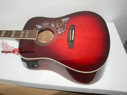 Wholesale Electric Guitar Wine Red - New Arrival Wine red Acoustic electric guitar with high quality Free Shipping