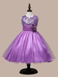 Wholesale Solid Light Blue Ball Gown - Hot sales 2016 new Christmas Girls Summer cute flower mesh sequined dress Girl Clothing Sleeveless Princess Dresses Girl Costume Kids Girls
