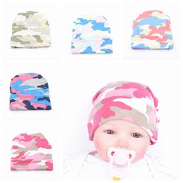 Wholesale Camouflage Hair - New Baby Girls Headbands Europe Style Printed camouflage Baby Hat newborn hat headwear 5 colors Children Hair Accessories