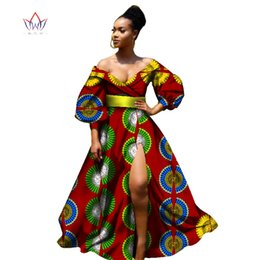Wholesale African Fabric Brown - 2017 african bazin dresses for women african Three Quarter sleeves dresses for women african clothing wax dashiki fabric WY2255