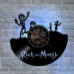 Wholesale Vinyl Lighting - Rick and Morty Theme Personalized Vinyl Wall Clock With LED Light,multiful LED light