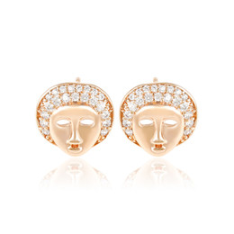Wholesale Earring Mask Studs - Xuping Personnel Mask Face Copper Stud Earrings Women White Zirconia 18K Gold Plated Ear Knot Factory Price Earring DH-17-18K0036