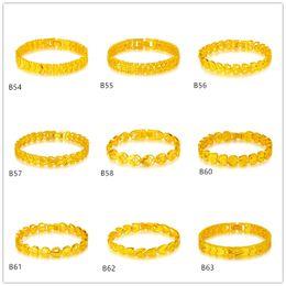 Wholesale American Fashion Online - Arc heart flower geometry yellow gold bracelet 6 pieces mixed style GTKB8 Online for sale fashion women's 24k gold bracelet