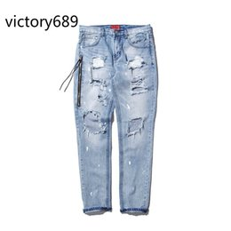 Wholesale Damaged Jeans - Wholesale-victory689 fashion high street mens destroyed jeans hole casual pants cool wash blue joggger damage 424 jeans rock hip hop men