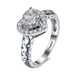 Top 18K oro blanco plateado AAA Zircon compromiso / anillo de bodas joyería de moda regalo de San Valentín para las mujeres tamaño 6-9 # envío gratis desde fabricantes