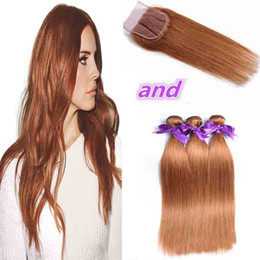 Wholesale Cheap Weave Hair Closure Blonde - Blonde Brazilian Hair Weave 3 Bundles With Closure Straight Human Hair Color 30# 10-24 Inch Cheap Remy Hair Extension With Lace Closure