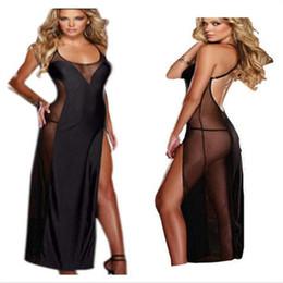 Plus La Taille S-6XL Noir Femmes Longues Sexy Robe De Lingerie Dos Nu Sexy Costumes Vêtements De Nuit Vêtements De Nuit Lingerie Robe De Nuit ? partir de fabricateur