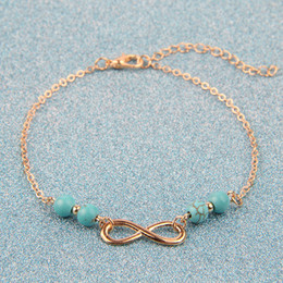 Wholesale Infinity Love Ring - New Infinity Bracelet Exclusive Ladies Simple Turquoise Pendants Character style Bangles Plated Gold Silver Jewelry Love Bracelets for Women