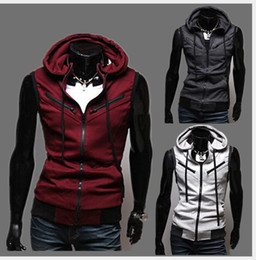 Wholesale Korean Hoodies For Men - Sleeveless Hooded Vest Men More Pockets Cardigan Casual Hot Sale Korean Stylish Slim Fit For Men Sport Vest Hoodie Free Shipping
