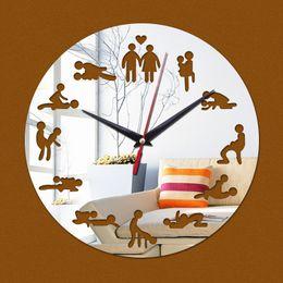 Wholesale Quartz Cloth - Wholesale- 2016 real new acrylic mirror stickersclock watch home decoration clocks wall clock reloj de pared Quartz Living Room Modern 3d