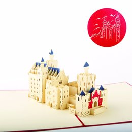 Wholesale Greet Model - Wholesale- (5 pieces lot)Famous Building Model New Swan Stone Castle Handmade Kirigami 3D Pop up Cards Schloss Neuschwanstein Greeting Card