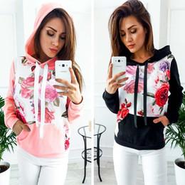 Wholesale coloured hoodies - New Womens Ladies Flower Printed Hoodie Hooded Sweatshirt Tops Jacket Coat Pullover 6 Colour 4 Size
