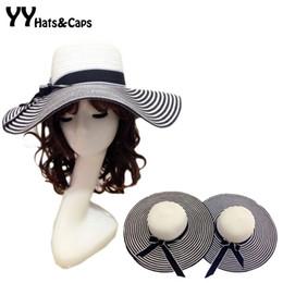 Wholesale Wholesale Small Straw Hat - Wholesale- Hepburn Small Black and White Stripe Summer Hat Floppy UV Sun Caps Women's Large Brim Beach Sun-shading Straw Hat Bow YY0009